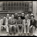 Surrealists Tristan Tzara, Paul Éluard, André Breton, Hans Arp, Salvador Dalí, Yves Tanguy, Max Ernst, René Crevel and Man Ray, Paris 1933. Photo- Anna Riwkin
